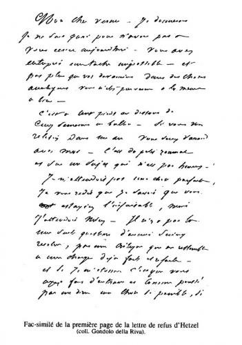 Fac-similé de la première page de la lettre de refus d'Hetzel